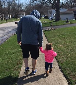 ayva and daddy walking