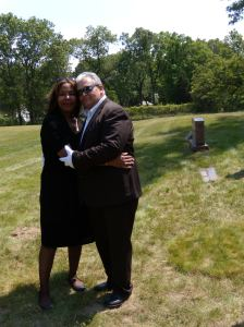 son charlie and belinda at graveside