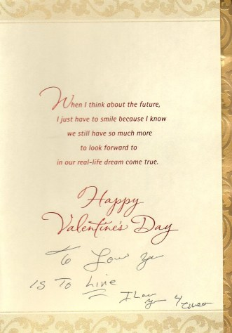 David's Valentine Card inside