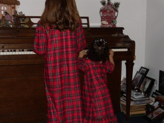 brooke playing piano xmas jammies