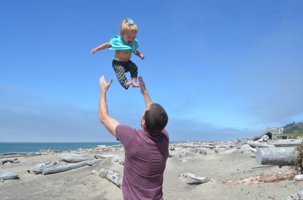 Jake throwing baby in air