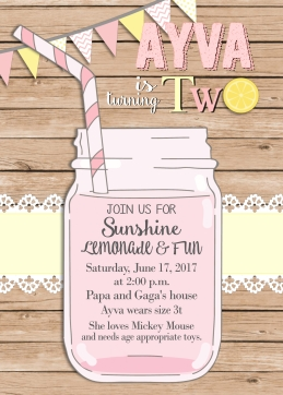 Candace Elizabeth Garrison lemonade invite