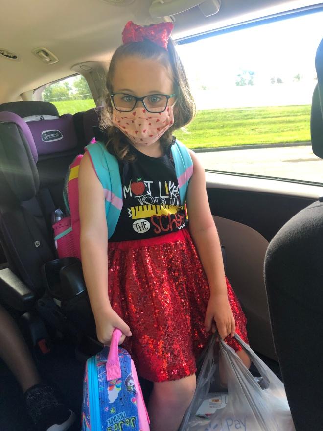 mask school - Ayva first day of kindergarten