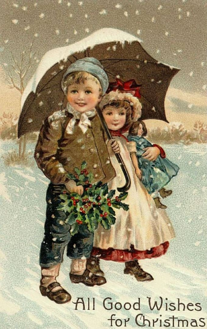 vintage-christmas-cards-for-family-and-kids