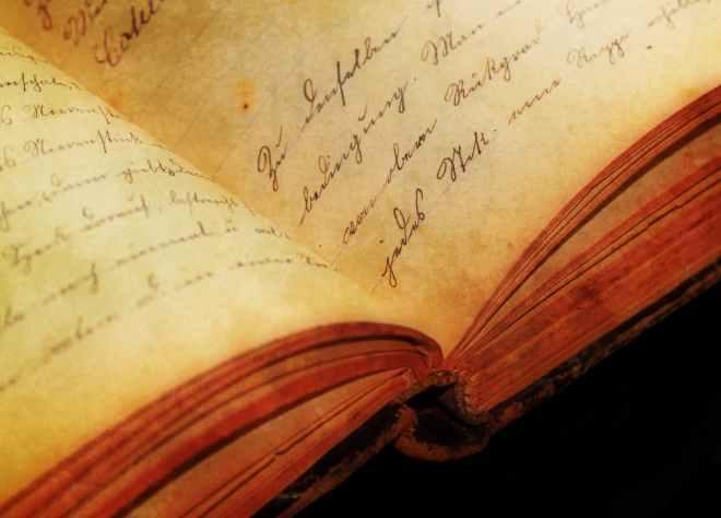 antique book close up handwriting