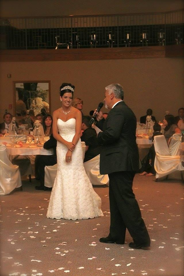 singing at Nate and Kristy's wedding