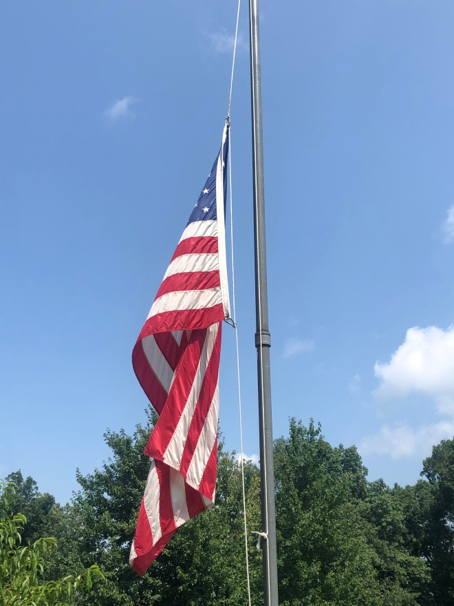 JOE MILITARY Flag half mast